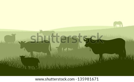 Horizontal vector illustration silhouettes of grazing animals (cow, horse, sheep) in the meadows. - stock vector