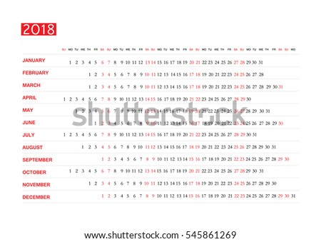 Horizontal vector template for calendar 2018. Eps 10