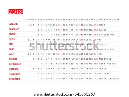 Horizontal vector template for calendar 2018. Eps 10