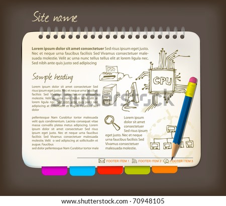Horizontal web site template - Open notepad with colorful bookmarks - stock vector