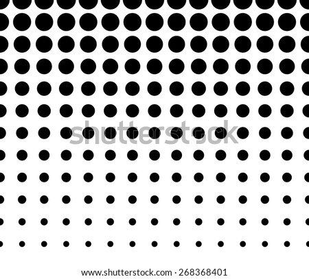 Horizontally Seamless Black and White Dotted Pattern - stock vector