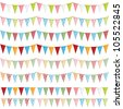 horizontally seamless party bunting pack, isolated on white - stock vector
