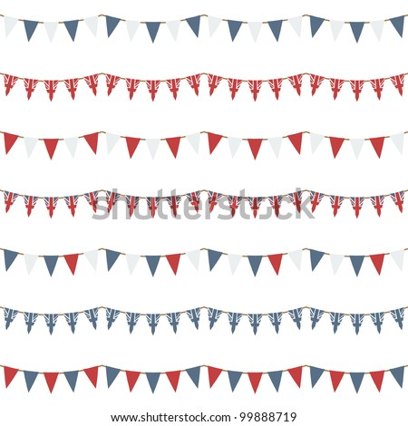 horizontally seamless united kingdom party bunting, isolated on white - stock vector