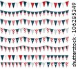 horizontally seamless united states of america party bunting pack, isolated on white - stock vector