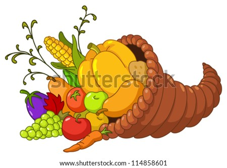 Horn of plenty. Cornucopia with autumn fruits and vegetables - stock vector