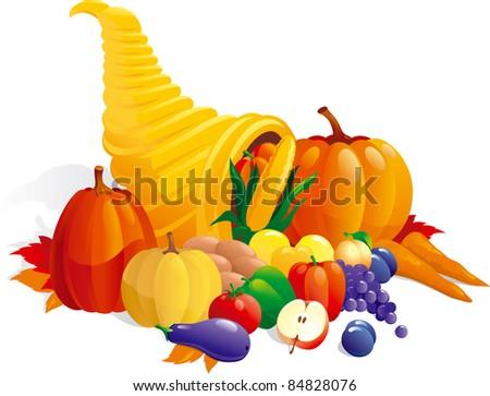 Horn of Plenty. Vector illustration of Cornucopia with fruit, berries  and vegetable - stock vector
