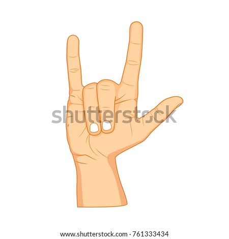 Horns Hand Satan Sign Finger Gesture Stock Vector 761333434