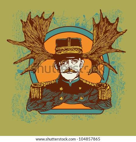 horny officer. vector illustration - stock vector
