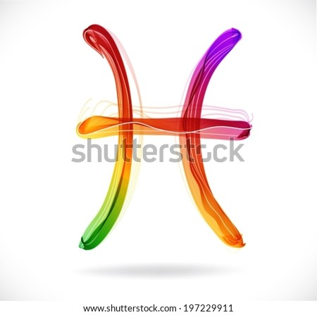 Horoscope: abstract color sign of the zodiac - pices, beautiful illustration, VECTOR - stock vector