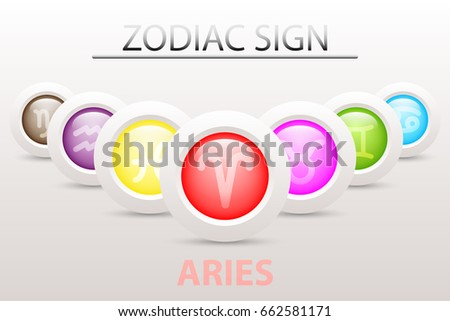 Horoscope Astrology Zodiac Sign Symbol Aries Stock Vector 662581171