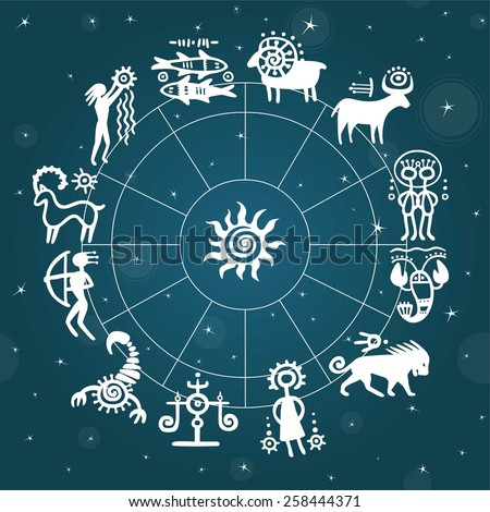 Horoscope circle against the stellar sky. Zodiac signs. Simulation of rock paintings. - stock vector