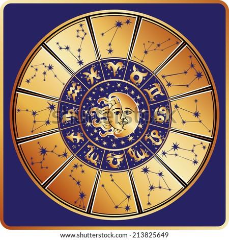 Horoscope circle with  Zodiac signs and constellations of the zodiac,moon and sun faces.Inside are text and stars.Gold round on blue background.Retro style.Vector illustration