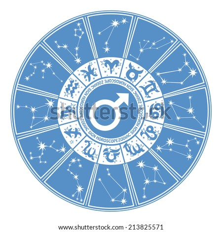 Horoscope circle Zodiac signs and constellations of the zodiac.Inside the symbol of gender character.Design for man.Cyan and white colors.Vector illustration - stock vector