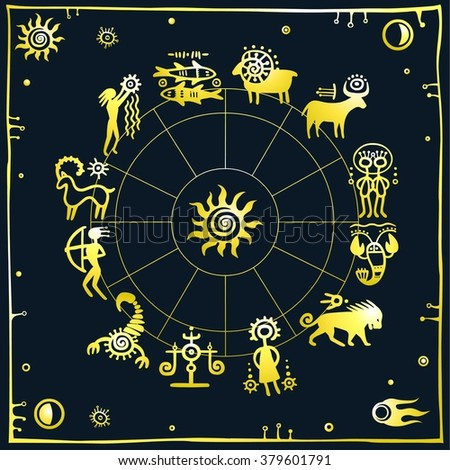 Horoscope circle. Zodiac signs. Dark background. Gold imitation.