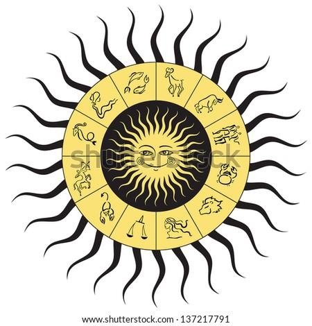 Horoscope circle.  Zodiac Stars sign. Vector Illustration isolated. - stock vector