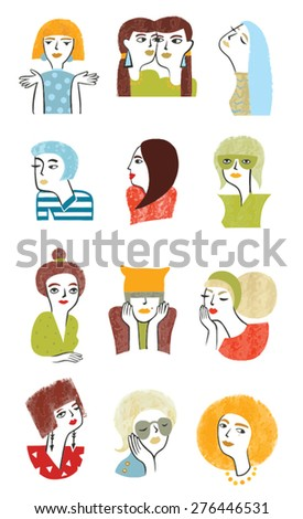 horoscope girl. collection of 12 characters - stock vector