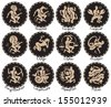 horoscope of the twelve signs of the zodiac in antique style - stock vector