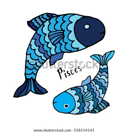 Horoscope sign - Pisces doodle sign