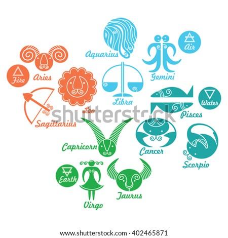 Horoscope Signs Set Astrological Zodiac Symbols Stock Vector