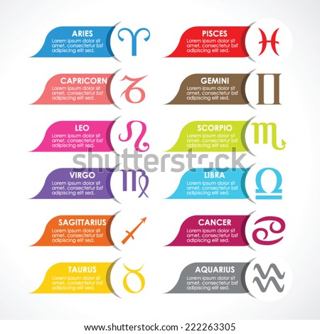 Horoscope signs, Vector colorful template - stock vector