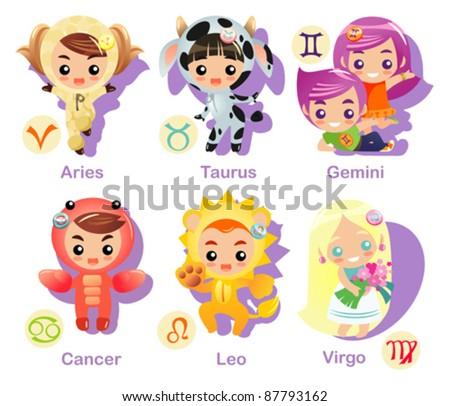 Horoscope symbols set part 1, first 6 Zodiac symbols - stock vector