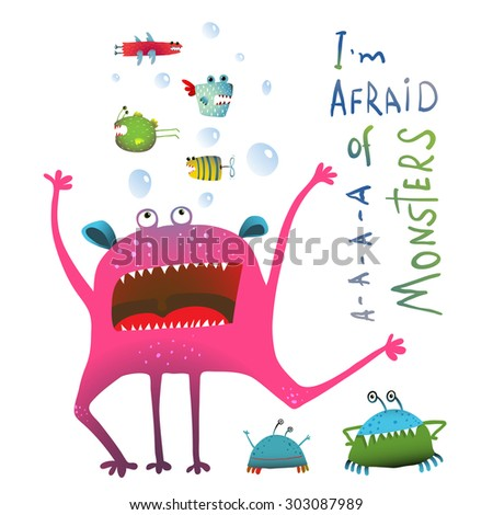 Horrible Funny Underwater Monster Screaming in Panic. Colorful illustration for kids of cute creature screaming and fish monsters. Vector drawing. - stock vector