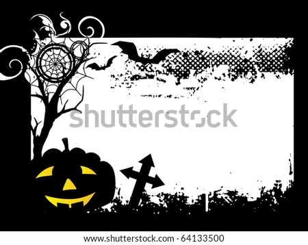 horror graveyard background with pumpkin, dry tree