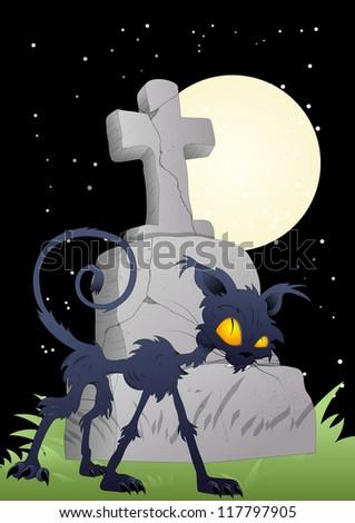 Horror Graveyard - Halloween Illustration - stock vector