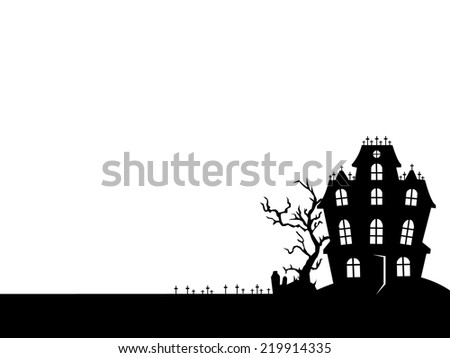 Horror house in white and black color surrounding with grave yard. Halloween frame can put text in the middle.  - stock vector