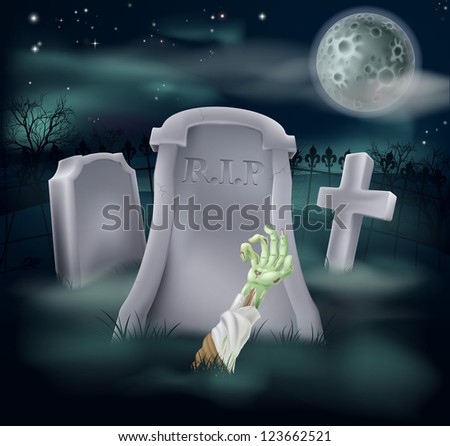 Horror illustration of an undead zombie hand and arm reaching out of a spooky grave - stock vector