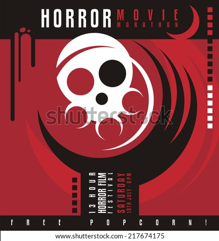 Horror movie marathon or horror film festival flat poster design. Creative and unique promotional flyer with claw from the grave holding a skull with film roll.