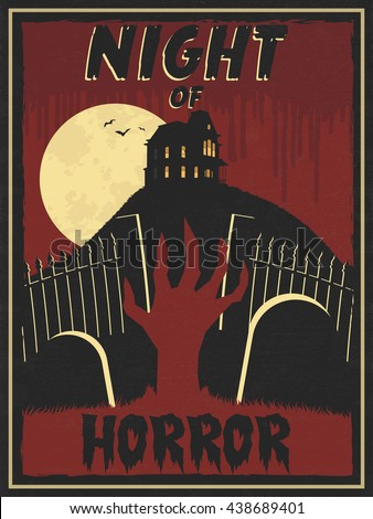 Horror Movie Retro Poster. Horror movie marathon. Halloween party vector illustration. All elements & effects can easily be disabled or toned down. - stock vector