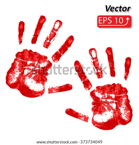 Horror red bloody handprint isolated on white background vector illustration