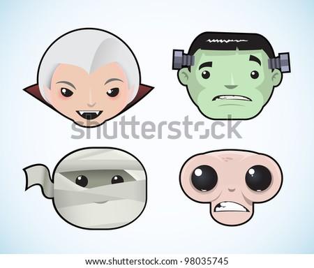 Horror set of avatars - stock vector
