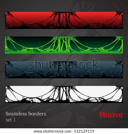 horror slime halloween seamless borders. detailed vector illustrations - stock vector