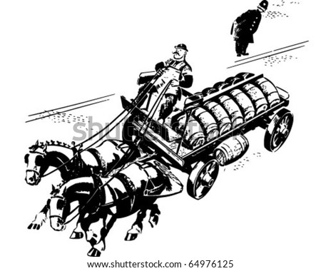 Horse And Cart Delivery - Retro Clipart Illustration