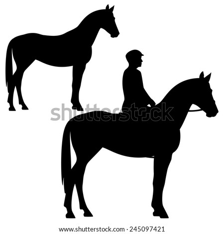 horse and horseman - standing animal profile silhouette - black and white vector design - stock vector