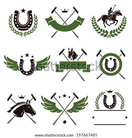 Horse and polo set. Vector - stock vector