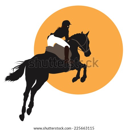 Horse and rider jumping on orange background. Vector EPS10 - stock vector