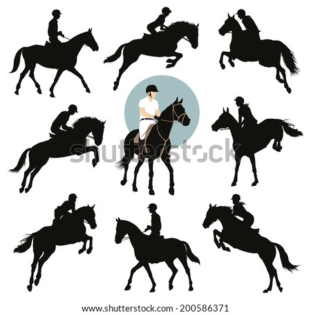 Horse and rider jumping  silhouettes set. Equestrian sports. Vector EPS8