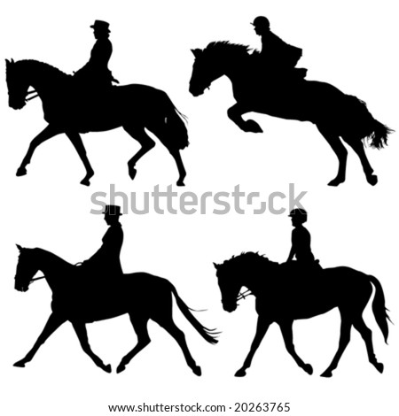 horse and riders vector - stock vector