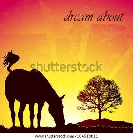 horse at the sunset - stock vector