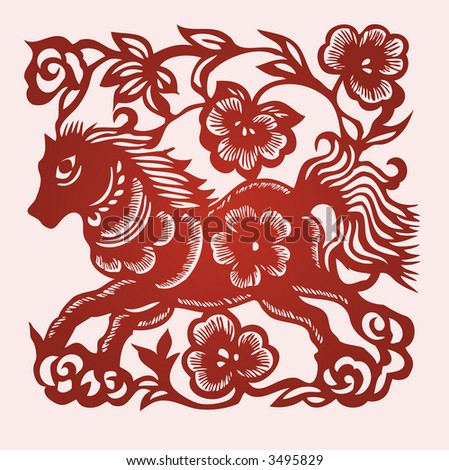 HORSE Chinese Zodiac Sign in paper cutting style (Vector)
