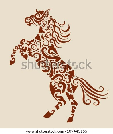 Horse 2 Decorative Ornament. Horse sketch with floral ornament decoration, use for tattoo, t-shirt or any design you want - stock vector