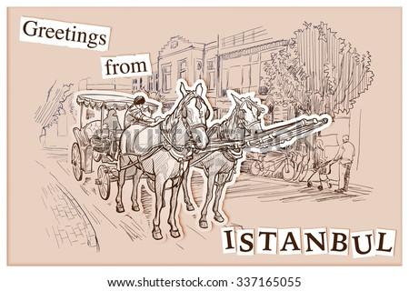 Horse drawn Landau riding along the street in Istanbul, Turkey. Sketch imitating ink pen drawing. EPS10 vector illustration. - stock vector