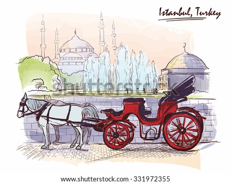 Horse drawn Landau waiting for tourists on the Sultanahmet square. Istanbul, Turkey. Line sketch isolated in a separate layer above traced watercolor background. EPS10 vector illustration. - stock vector