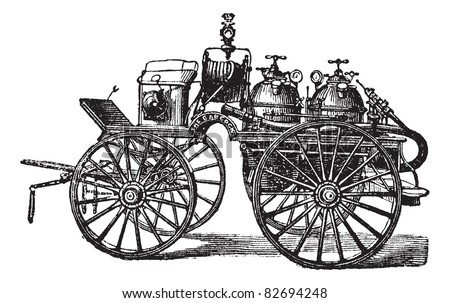 Horse-driven Fire Wagon, vintage engraved illustration. Trousset encyclopedia (1886 - 1891). - stock vector