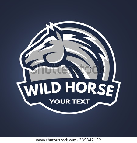 Horse emblem, logo for a sports team on a dark background. - stock vector