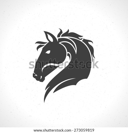 Horse face logo emblem template mascot symbol for business or shirt design. Vector Vintage Design Element. - stock vector