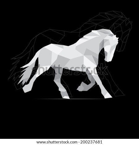 Horse geometric style. polygon vector. - stock vector
